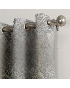 Geometric Hills Silver Dimout Curtains