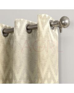 Geometric Wave Colonial Beige Dimout Curtains