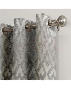 Geometric Wave Silver Dimout Curtains